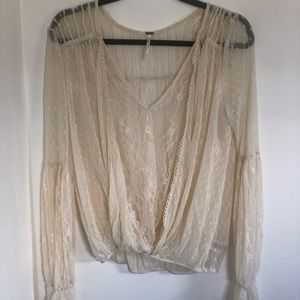 Free people long sleeve lace top